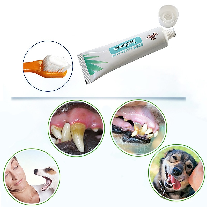 Pet Toothbrush Set Dog Cat Edible Toothpaste Oral Care Cleaning Toothbrush Addition Bad Breath Tartar Teeth Care Dog Supplie Set