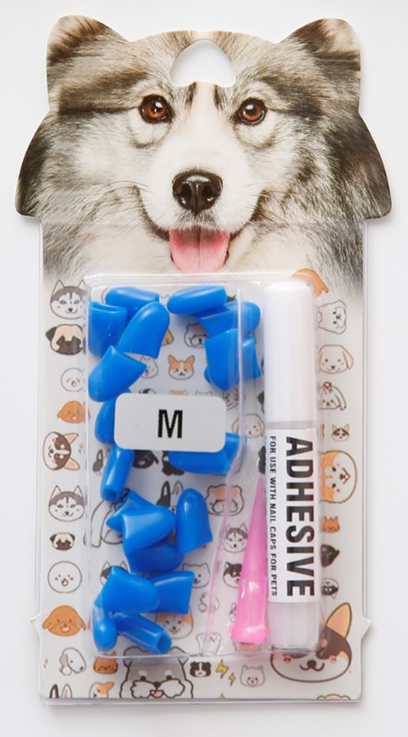 20Pcs Blister card Soft Silicone Dog Nail Caps Pet Paw Claw Nail Protector Grooming With Free Glue And Applicator 6 Sizes