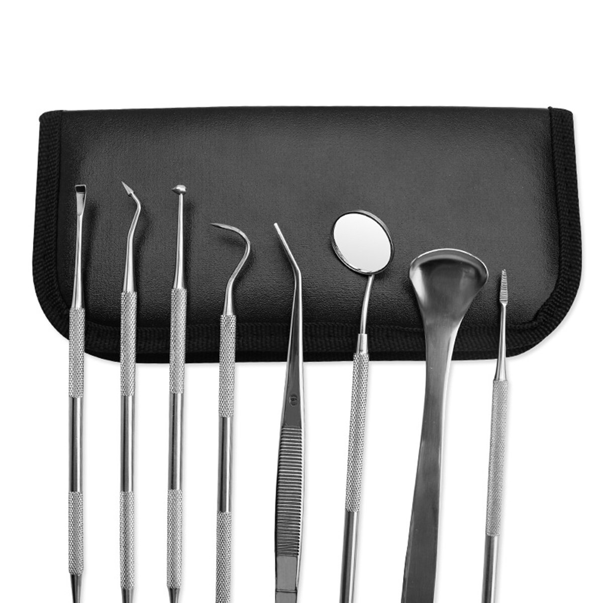 8pcs Pet Dog Tool Kit Stainless Steel Teeth Cleaning Oral Care Set With Tooth Scraper Tartar Tweezers Mouth Mirror
