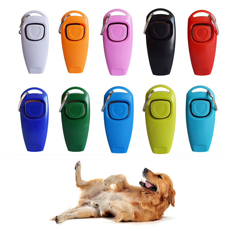 Hot 2 In 1 Cute Shape Dog Whistle Clicker Pet Dog Trainer Aid Guide With Key Ring Dog Training Whistle Dog Products Pet Supplies
