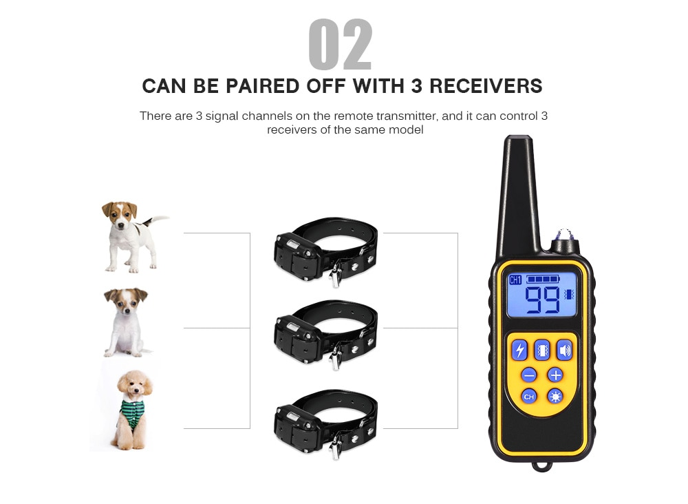 ON SALE! Dog Collar Waterproof Rechargeable Electric Dog Training Collar With Remote Controller Electric Pet Dog Training Collar