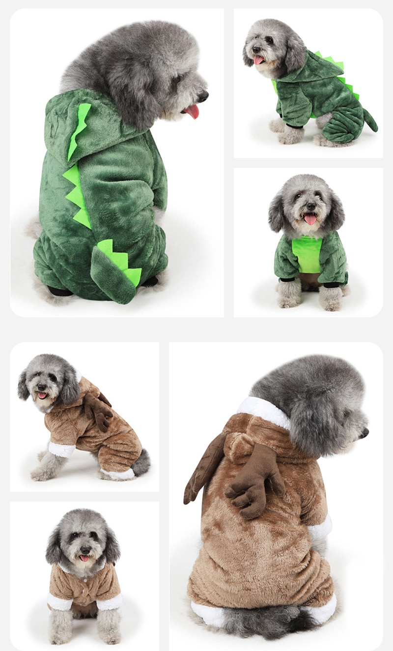 Cartoon Animal Dog Cat Costume for Small Dogs Cats Winter Warm Pet Jumpsuit Pajamas for Chihuahua Yorkies Clothes Puppy Clothing