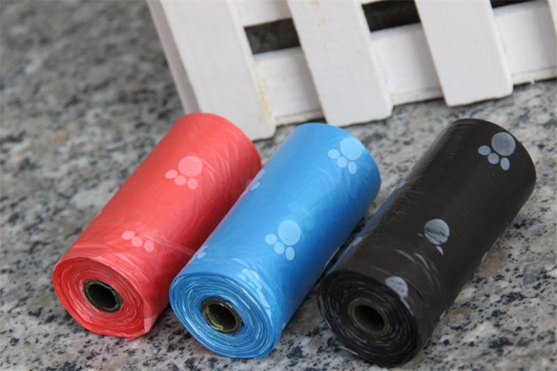 15pcs/roll Biodegradable Pet Dog Poop Bag Zero Waste Dog Pooper Bags Paw Doggy Litter Poop Bag Dispenser Pets Products For Dogs
