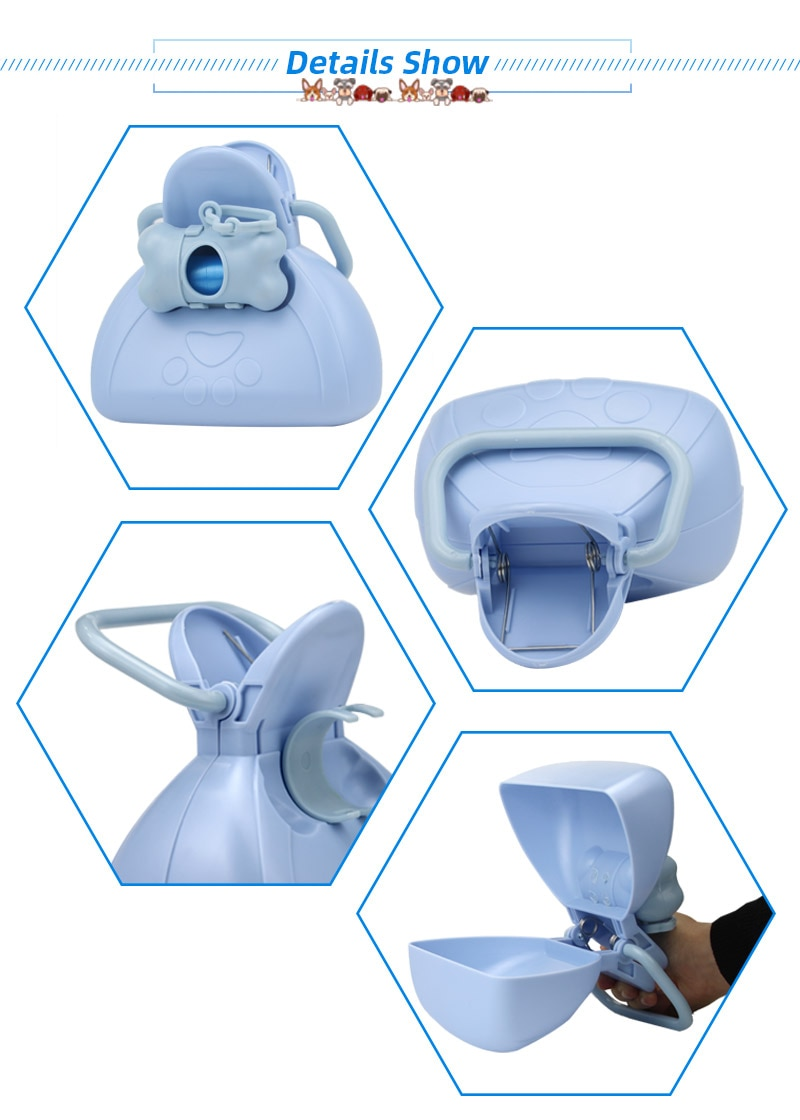 Mosodo dog pet travel foldable urinal with 1 roll garbage bag, stool spoon cleaning, pick up fecal cleaner