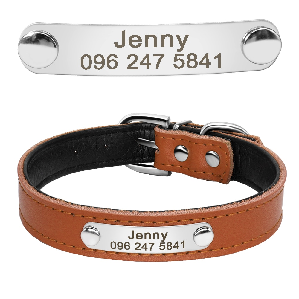 Leather Dog Collar Inner Padded Custom Personalized Dog Collars with Engraved Nameplate ID Tag For Small Medium Dogs