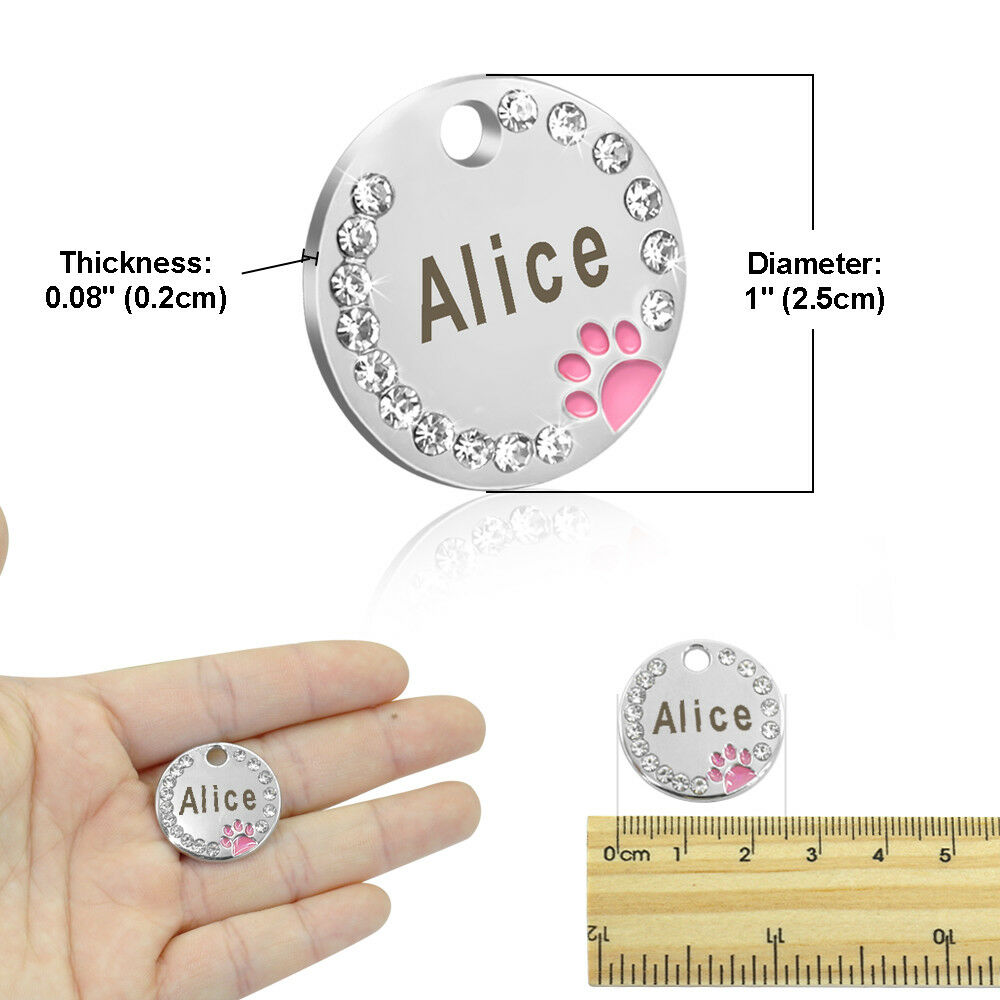 Anti-lost Pet Dog Tag Collar With Diamond No Personalized Engraved Puppy Cat ID Tag Stainless Steel Nameplate For Dogs