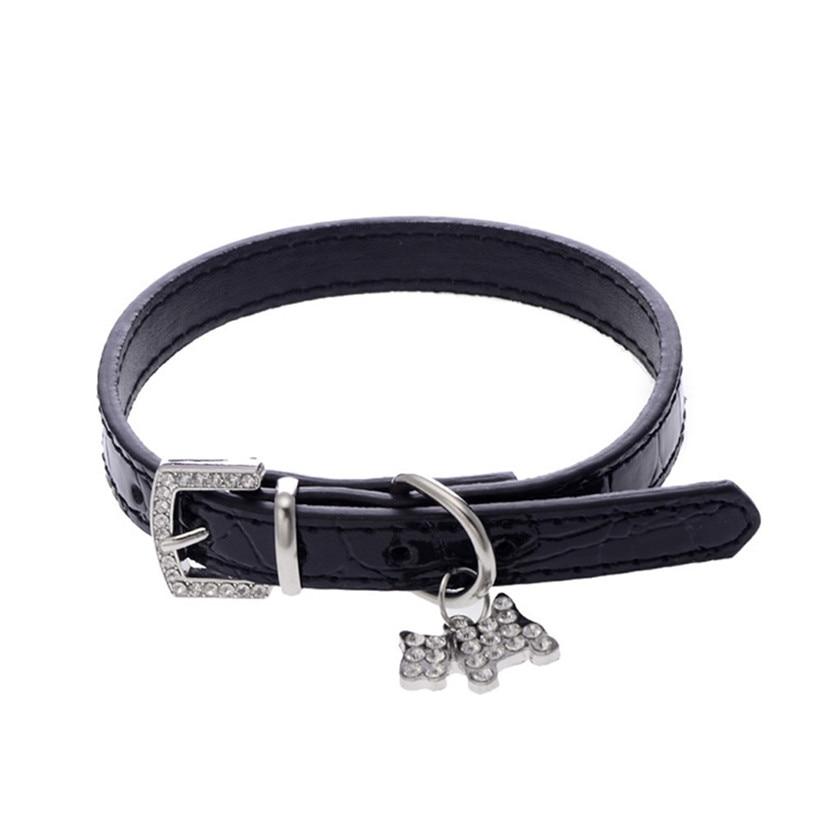 Transer Pet Dog Supplies Adjustable Alligator PU Leather Dog Collar with Diamonds Tag 80124
