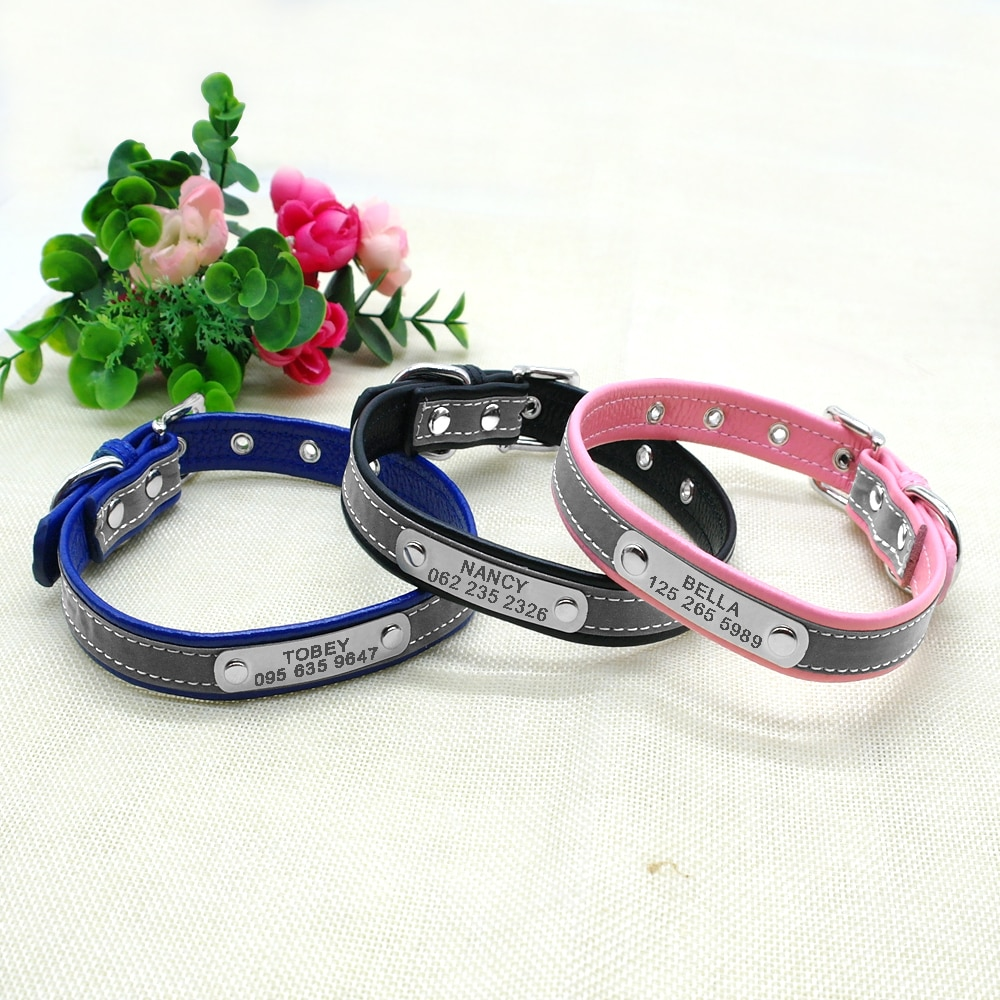 Leather Cat Collar Personalized Cat Collar For Puppy Small Dogs Pet Kitten Nameplate Collar Free Engraving Adjustable