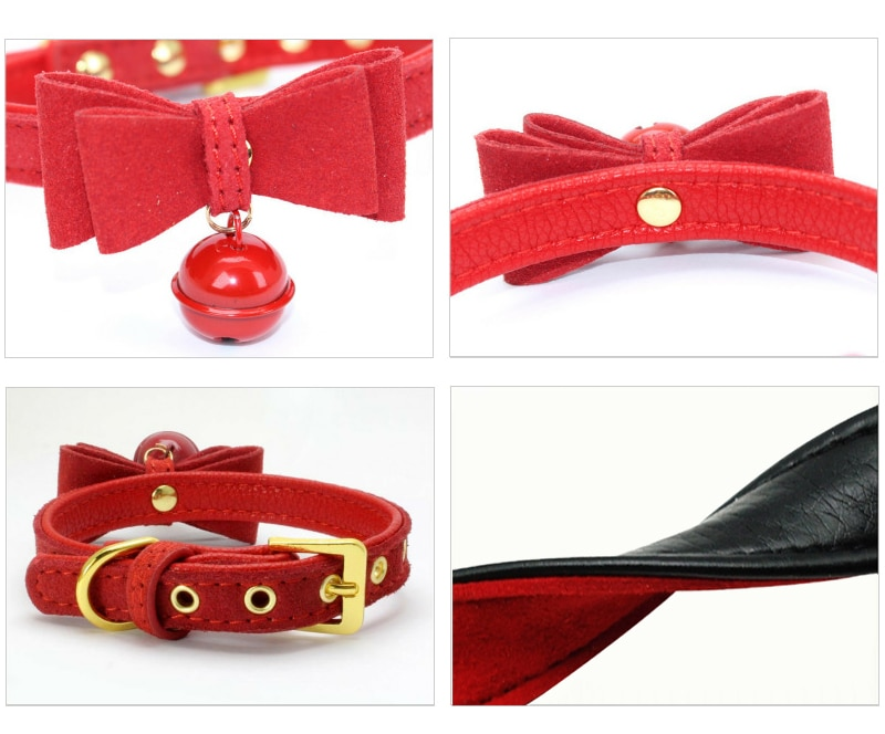 Bowknot Cat Collar PU Leather Bells Necklace Adjustable Small Dog Puppy Kitten Collars Pet Accessories