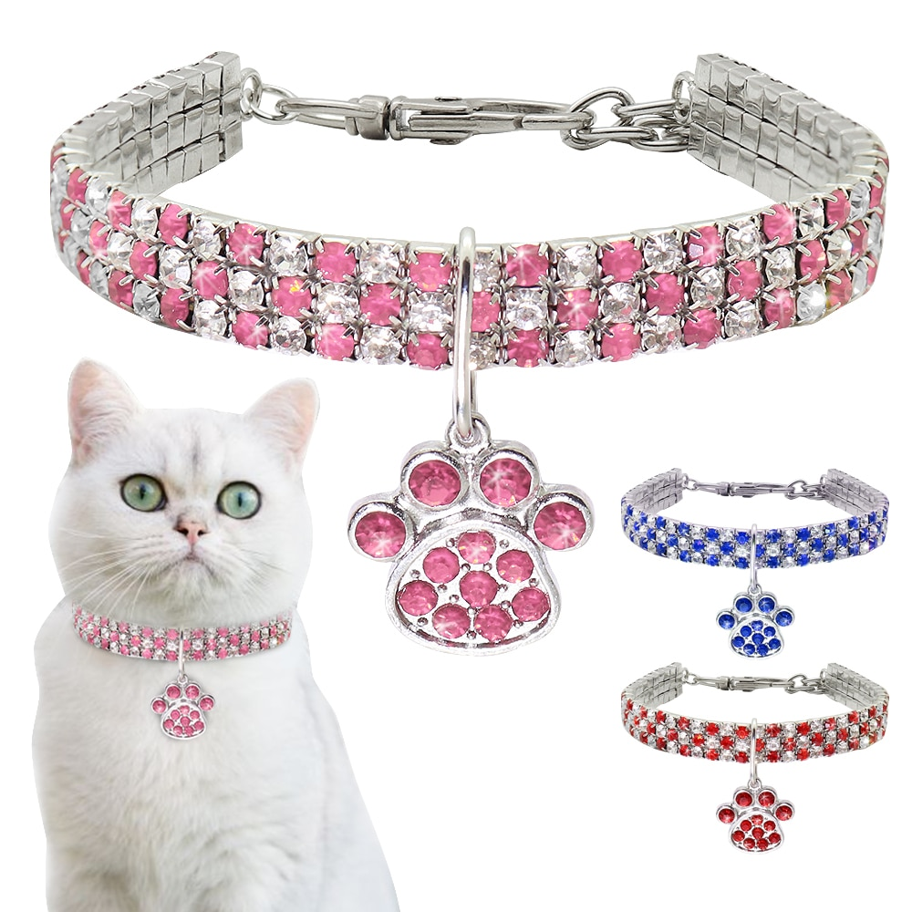 Bling Rhinestone Cat Dog Collar Puppy Necklace Small Dogs Cats Collars Pet Accessories With Paw Pendant For Kitten Chihuahua