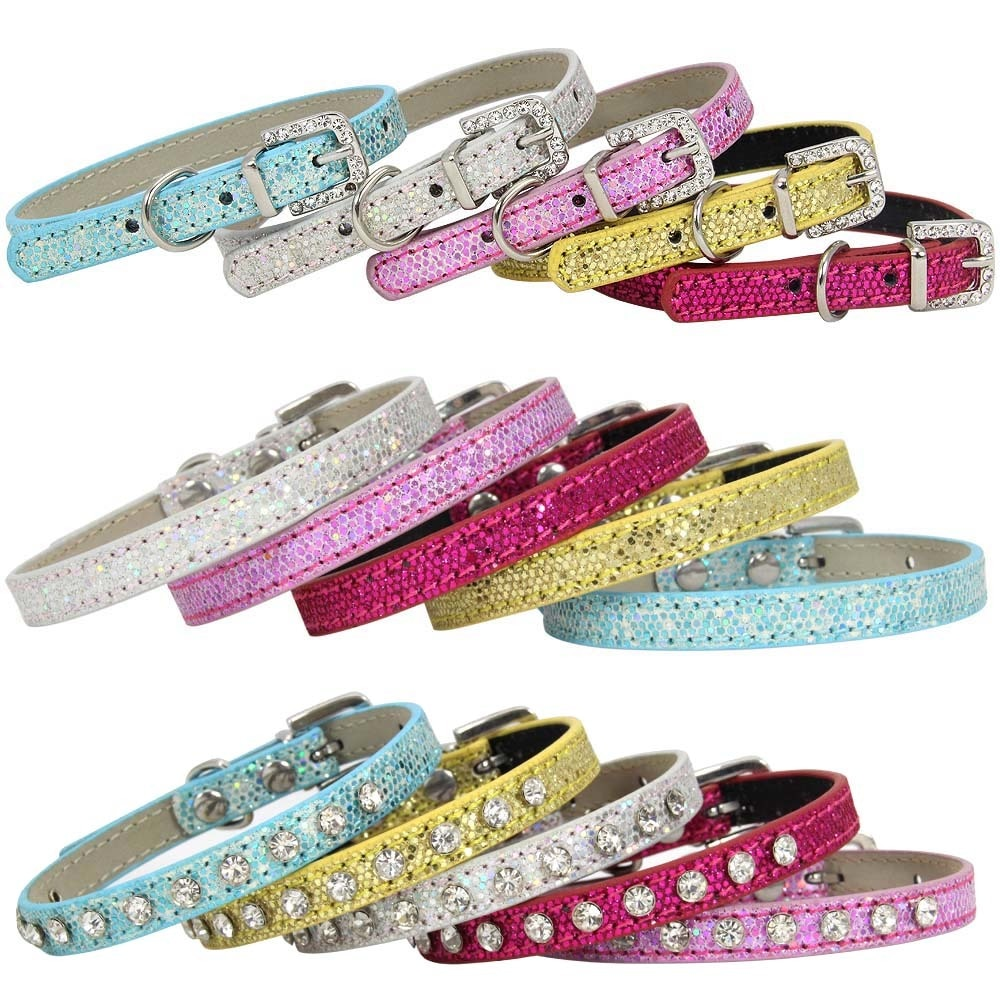 Bling PU Leather Rhinestone Small Dog Cat Collar For Adjustable Puppy Collars Cat Neck Strap Chihuahua Pet supplies XXS/XS/S 1PC
