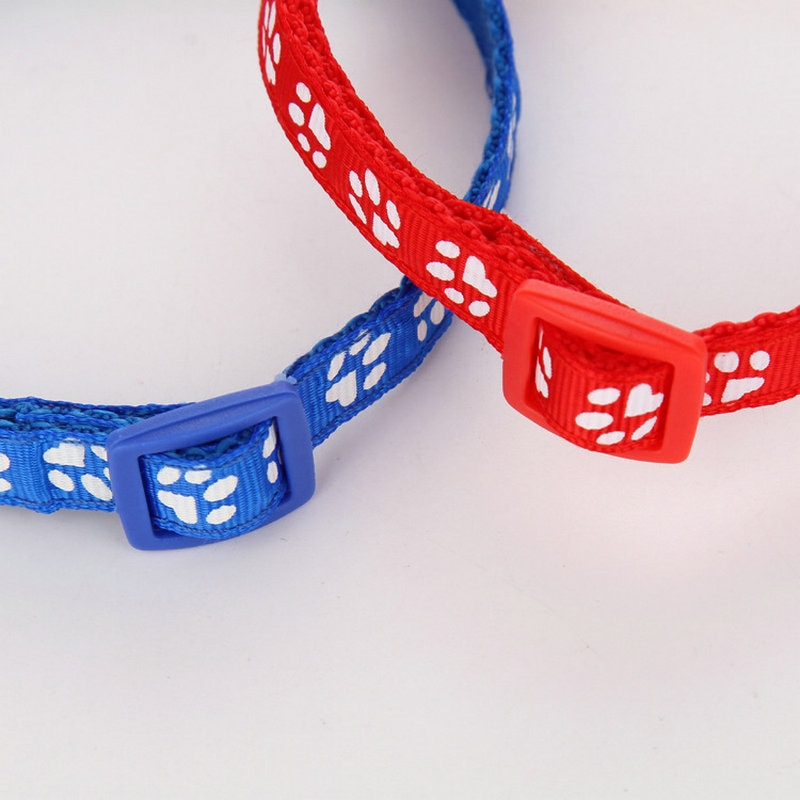 Lovely Adjustable Nylon Easy Wear Cat Dog Footprint Safety Necklace Collar With Bell Puppy Pet Chihuahua Chain Supply Accessory