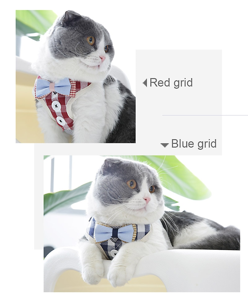 Cute Cat Harness and Leash Set Nylon Mesh Pet Puppy Harness Lead Cat Collar Clothes Vest For Small Cats Dogs Kitten Pet Supplies