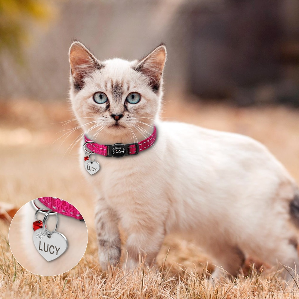 Quick Release Cat Collar Reflective Cat Collars Personalized Puppy Collars for Small Dog Cats Kitten Doggy