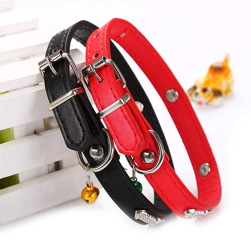 Bells Pet Cat Dog PU leather Collar Puppy Adjustable Traction Collar with Fish Patterns