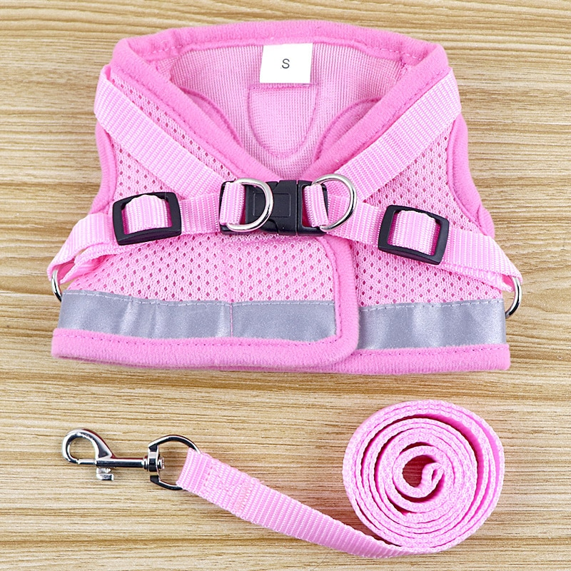 Cat Dog collar Adjustable Harness Vest Walking Lead Leash Collar for Dogs Puppy Mesh Harness For Small Medium Dog Cat Pet  Bell