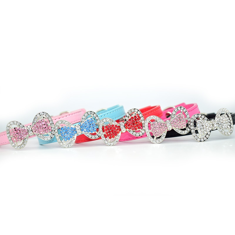 Bling Bow Tie Pet Cat Collar For Small Medium Cats Soft Adjustable Pu Leather Butterfly Kitten Puppy Dog Collars