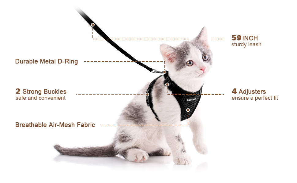 Cat Harness and Leash Set for Walking Small Dog Harness With Reflective Strips Nylon Mesh Pet Clothes For Puppy Kitten Collars