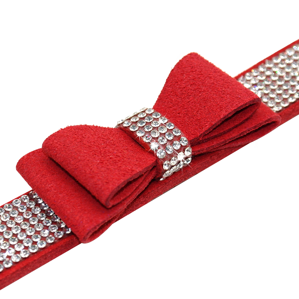 Bling Rhinestone Cat Collars Adjustable Leather Bowknot Puppy Kitten Collar For Small Medium Dogs Cats Chihuahua Pug Yorkshire