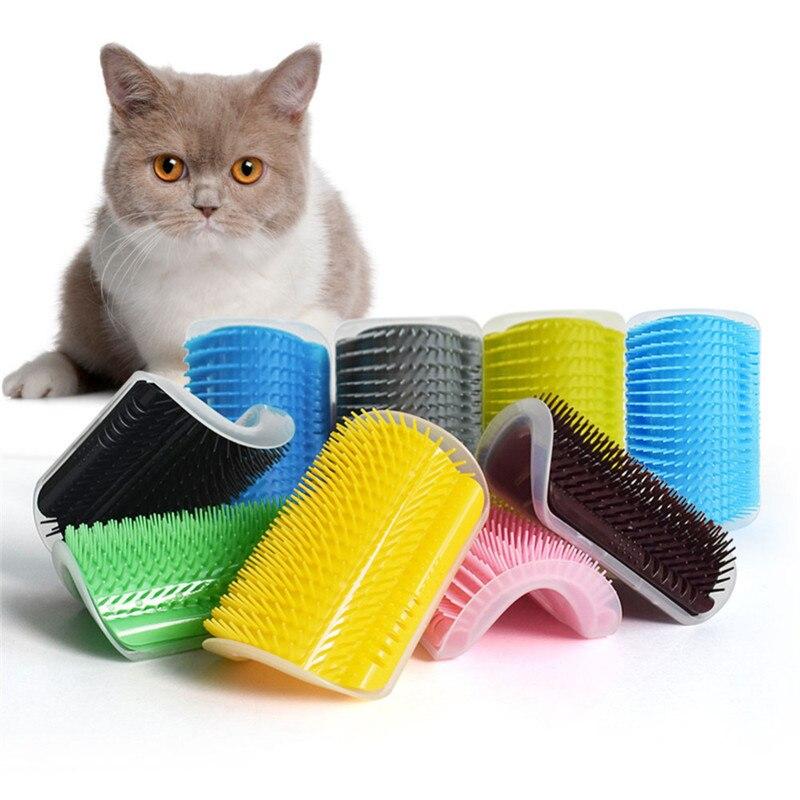 Dropship Pet Products Cat Supplies Cat Pet Self Groomer Brush Wall Corner Grooming Hair Comb Massage Tool Cat Scratcher