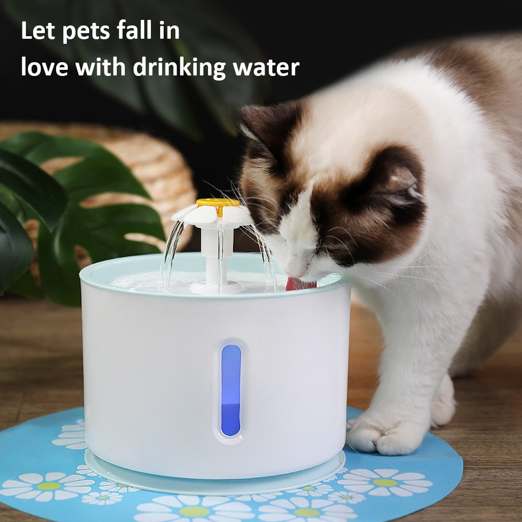 2.4L Automatic Cat Water Fountain Electric USB Pet Bowl Dog Fountain Cat Mute Drinking Flower Water Dispense With LED Light