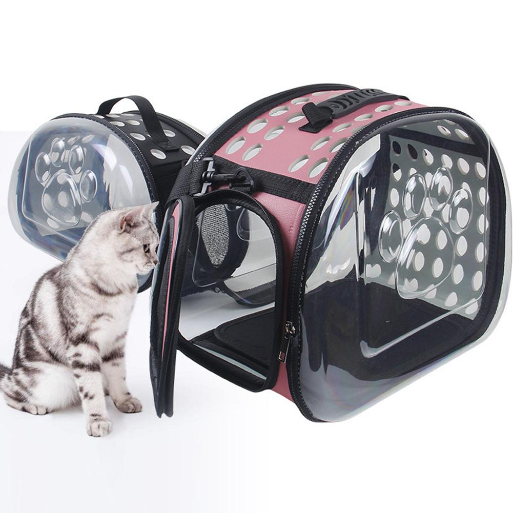TPFOCUS Portable Transparent Pet Bag Cage with Breathable Holes for Outdoor Cats Dogs Use Footprint Transparent Package