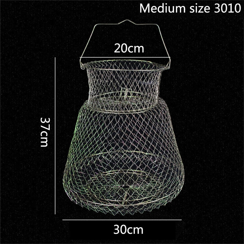 Portable Fish Care Keep Mesh Wire Foldable Fishing Cage Drum-shaped Steel Wire Creel Fishing Net