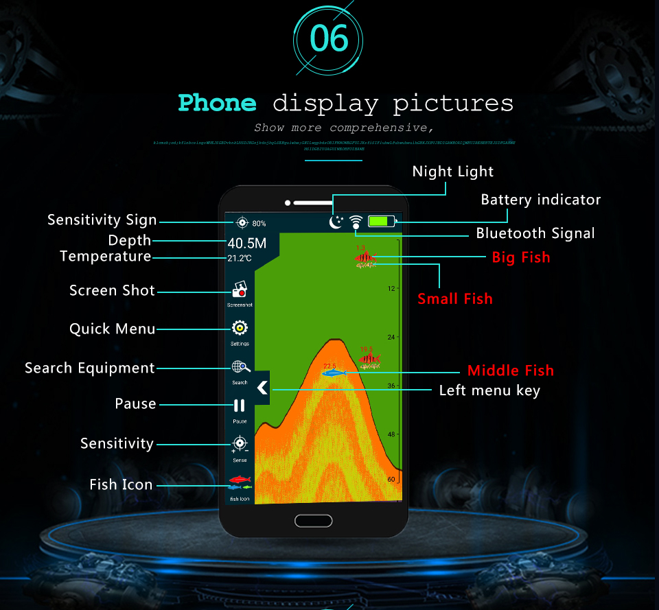 Erchang Fish Finder Portable Wireless Sonar 48M/160ft Depth Lake Fish Detect Professional Fish Finder With Attracting Fish lamp