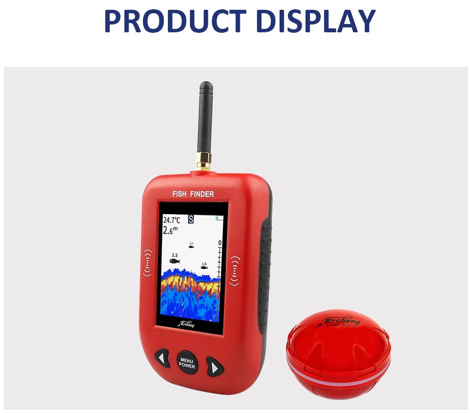 Erchang Fish Finder Portable Wireless Sonar 48M/160ft Depth 200M Distance Range Lake Fish Detect Professional Fish Finder
