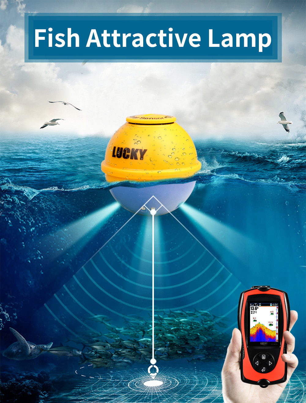 LUCKY 45M Depth Detector Echo Sounder Portable Sonar Fish Finders Attractive Lamp Fishing Finder Colorful Screen FF1108-1CWLA