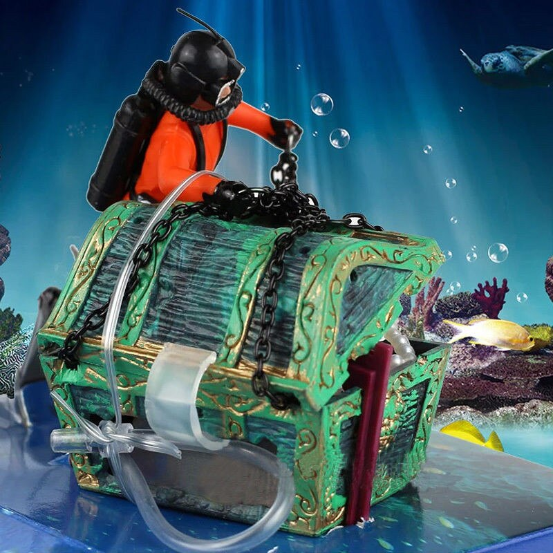 1pcs New Unique Design Treasure Hunter Diver Action Figure Fish Tank Ornament Landscape Aquarium Decoration Accessories