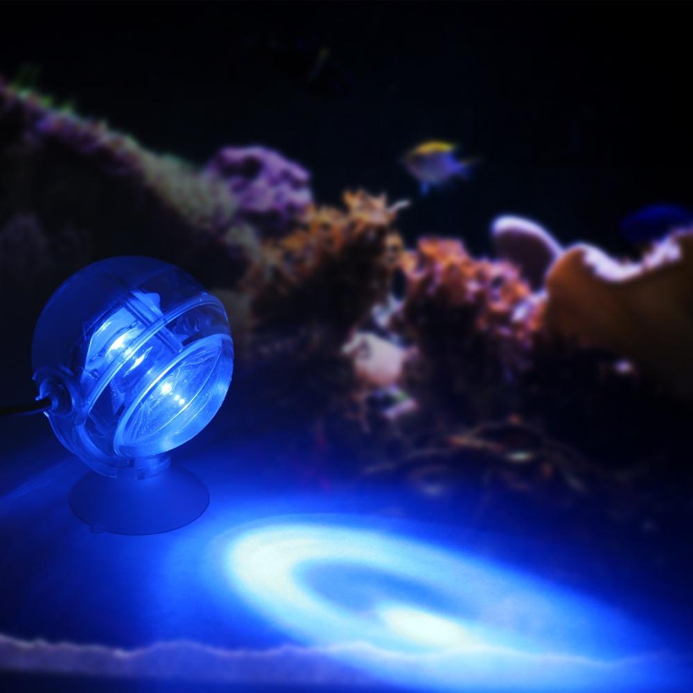EU Aquarium Waterproof LED Spotlight Submersible Light Convex Lens Design with Suction Cup Fish Tank Decorative Light Blue