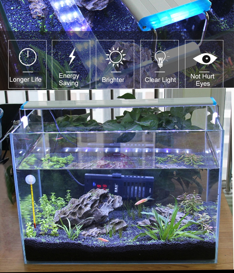Aquarium LED Light Super Slim Fish Tank Aquatic Plant Grow Lighting Waterproof Bright Clip Lamp Blue LED 18-75cm for Fish Tank