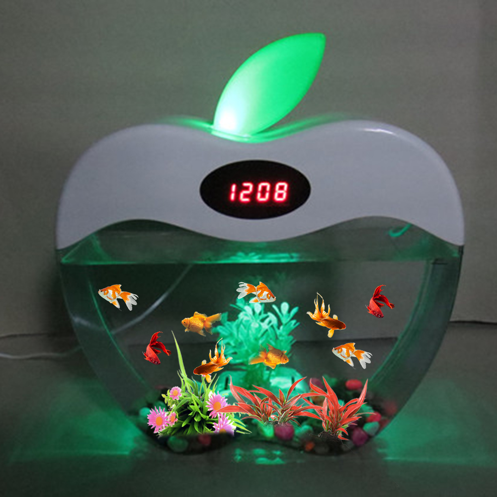 Aquarium USB Mini Aquarium with LED Night Light LCD Display Screen and Clock Fish Tank Personalise Aquarium Tank Fish Bowl D20