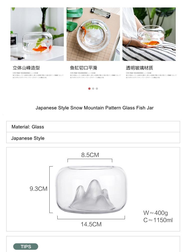 Creative Transparent Glass Fish Bowl Snow Mountain Fish Tanks Desktop Micro Landscape Fish Jar Aquariums Pet Supplies Home Decor