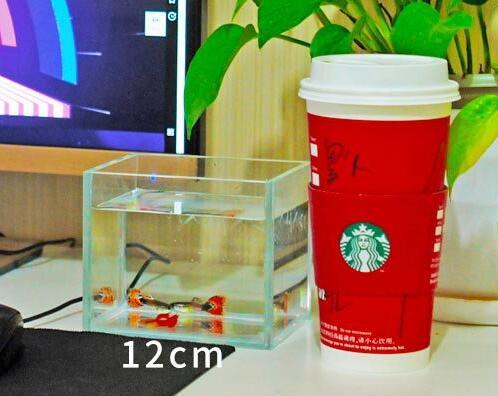 1 piece Desktop living room glass small fish bowl Lazy Ultra white goldfish tank 15-45cm