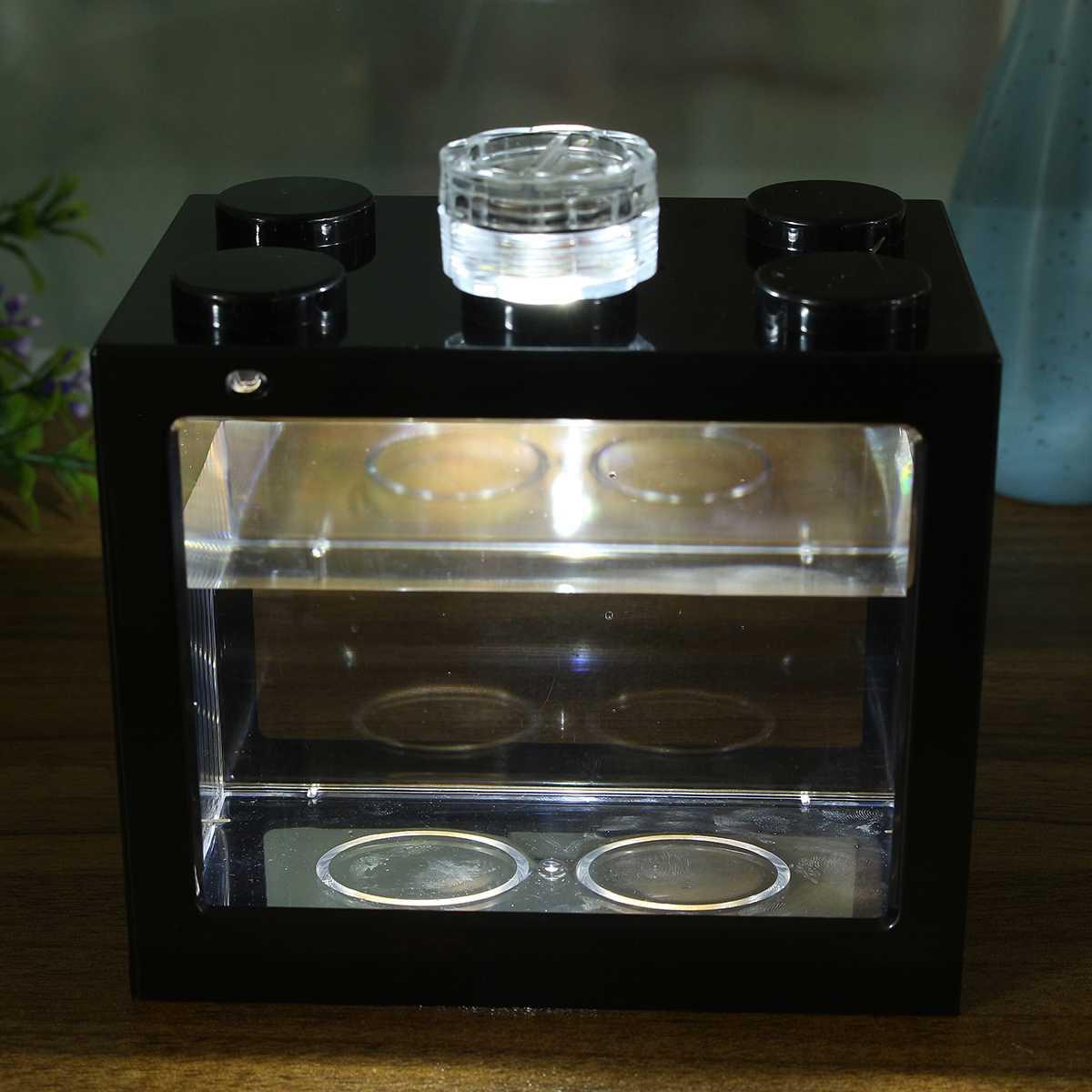 Mini Aquarium Fish Tank LED Light Lamp Betta Box Feed Desk Home Decor Baby Fish Breed Fish Isolation Box