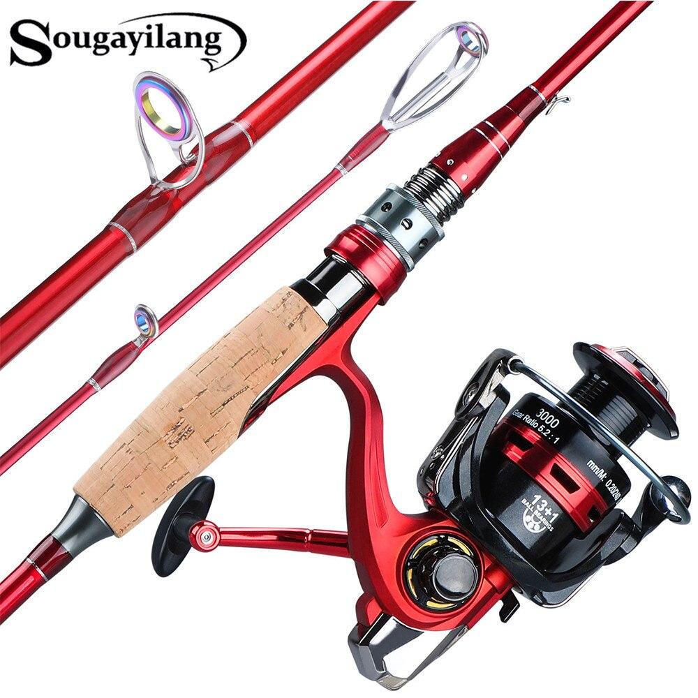 Sougayilang 2.1m 2.4m Spining Fishing Rod Reel Combo Portable 4 Section Carbon Fiber Pole 13+1BB Spining Fishing Wheel Set
