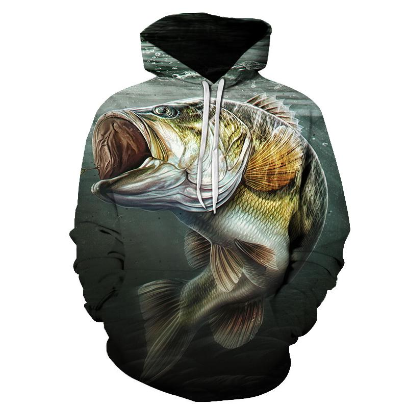 Fisherman fishing funny tropical fish sweatshirt men's and women's long-sleeved hoodie sweatshirt streetwear hip-hop jacket