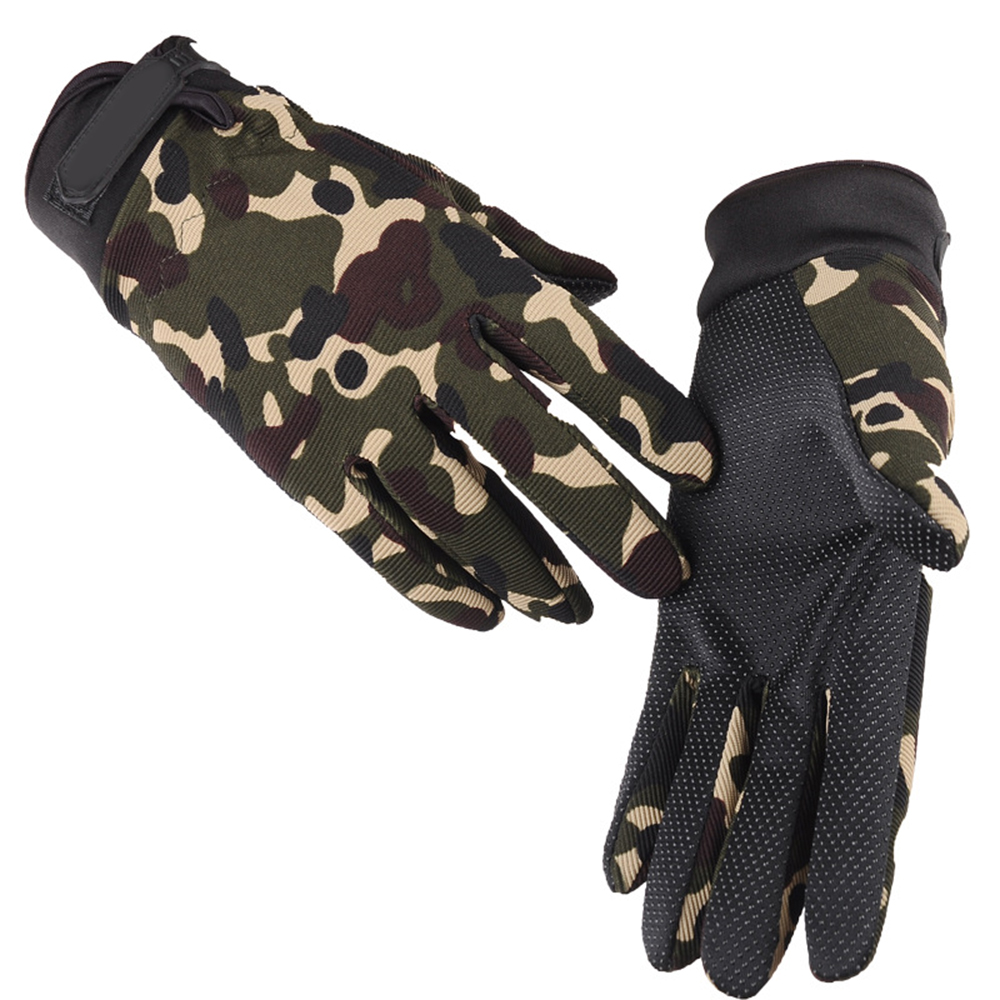 Anti-Slip Silicon Gloves Outdoor Sports Bike Gloves Windproof Full Finger Gloves Riding Warm Fishing Cycling Protective Gear D40