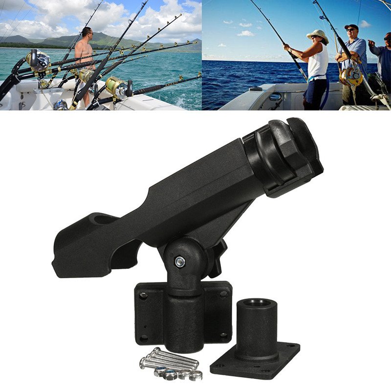 Fishing Support Rod Holder Bracket Kayaking Yacht Fishing Tackle Tool 360 Degrees Rotatable Rod Holder with Screws for Boat
