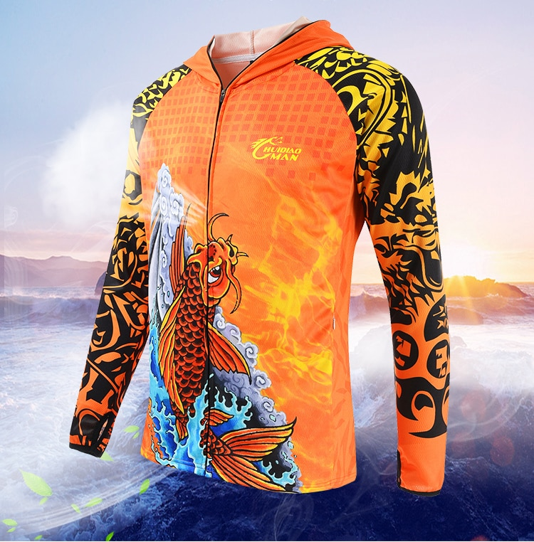 Anti-UV Fishing Jersey Sun Protection Clothing Long Sleeve Stand Collar Ice Fishing Shirts Men Cycling Sport Clothes Free Towel