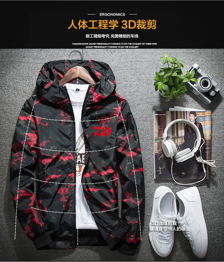 2018 Winter DAIWA Fishing Shirts Hooded Outdoor Quick Dry Camping Fishing Windbreaker Jacket Breathable Fishing Clothes M-4XL