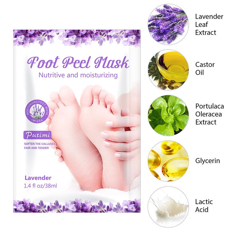 PUTIMI 6pcs 3pair Foot Mask Socks Exfoliating Foot Spa Bath Mask Peeling Scrub Pedicure Foot Patch Moisturizer Dead Skin Remover