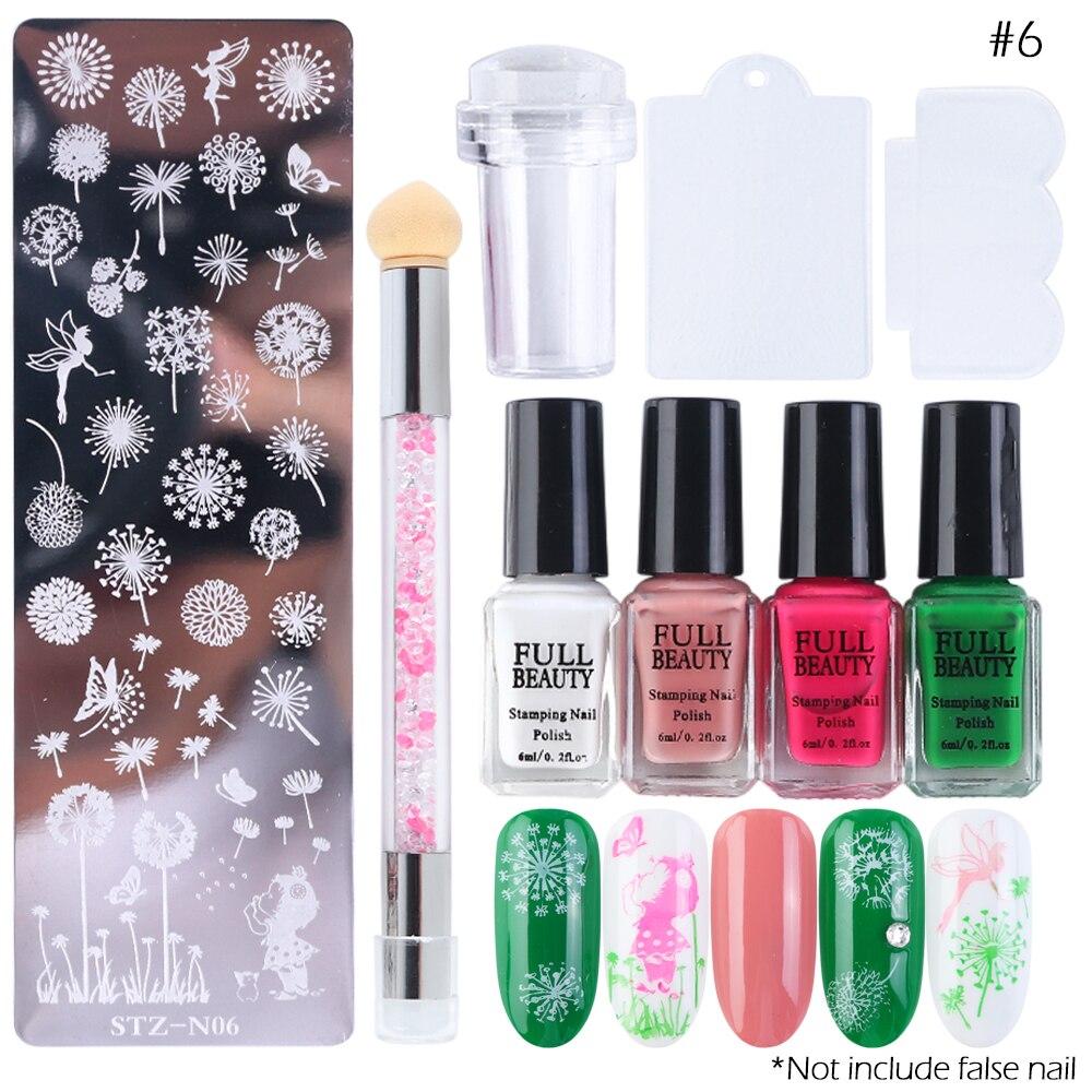 Manicure Nail Art Stamp Plate Tools Kit Gel Nail Stamping Polish Set Scraper Stamper Flower Geometric Nail Art Starter SA797