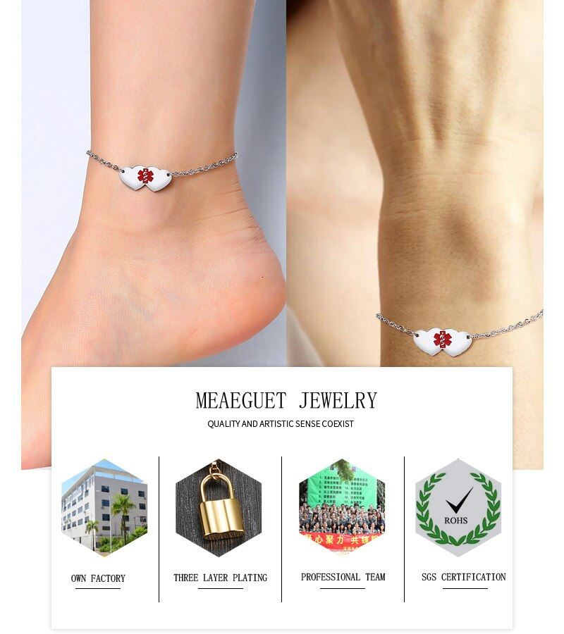 Cutsom Type 1 Diabetic Anklet Medical Alert Foot Bracelet Personalized Boot MOM Jewelry Free Engraving