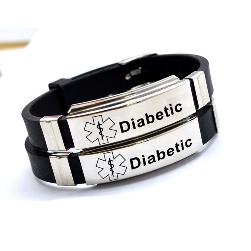 Stainless Steel Engravable Medical Alert ID Bracelets DIABETES EPILEPSY ALZHEIMER'S ALLERGY SOS Women Men Silicone Bracelet