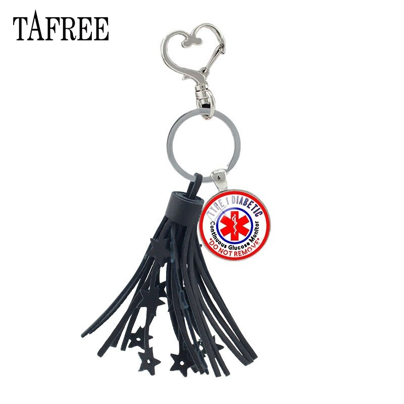TAFREE DIABETES Medical Alert Tassel Keychain Emergency Remind Statement Key Ring Glass Dome Key Chain Women Jewelry MA53