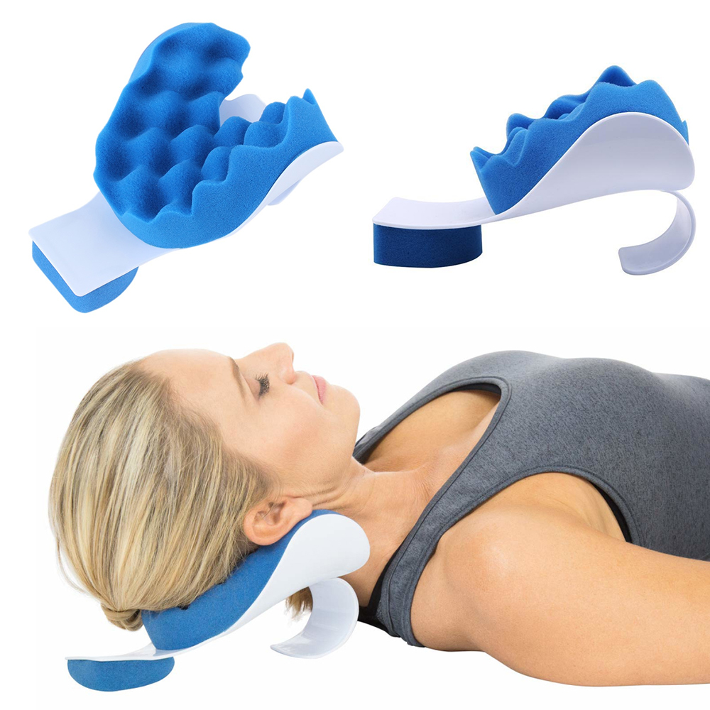 1Pc Comfortable Foam Healthy Neck And Shoulder Relaxer Neck Pain Relief Massage Blue Pillow Neck Support Relaxation Pillow Tool