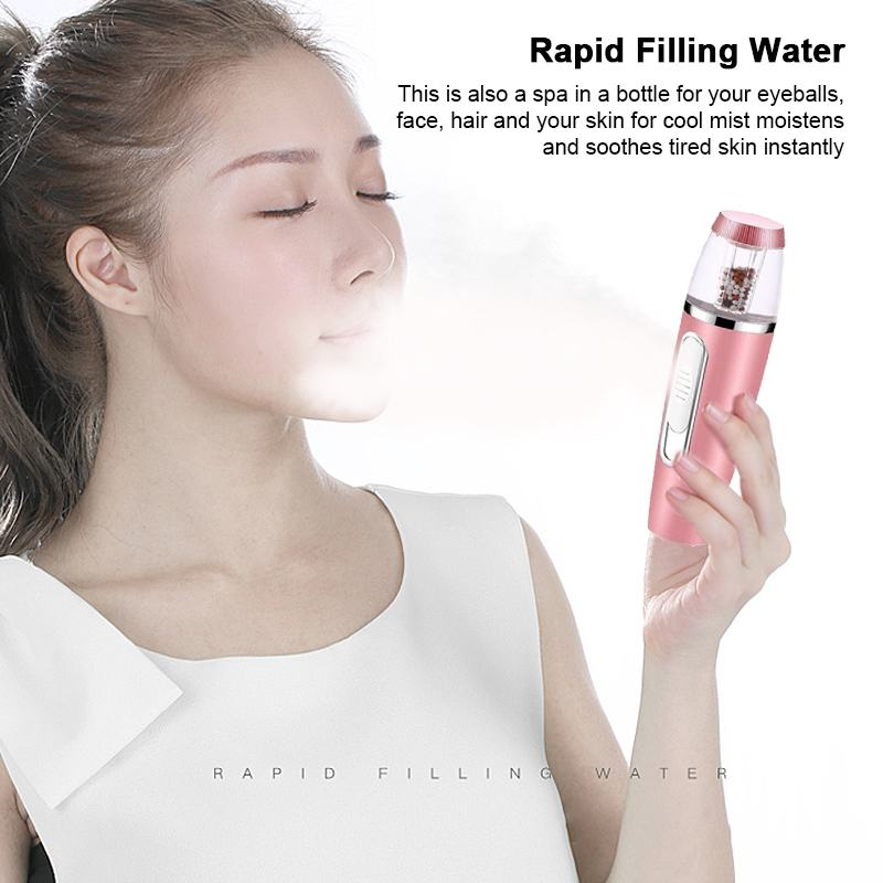 USB Portable Mist Sprayer Facial Steamer Nebulizer Skin Care Tool Water Spa Rechargeable & Bank function